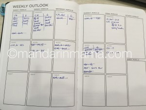 Mock up of a weekly schedule. I cross off the items I have covered.