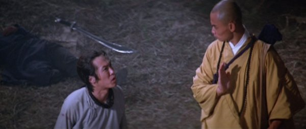 San Te the monk talks to somebody after a fight.