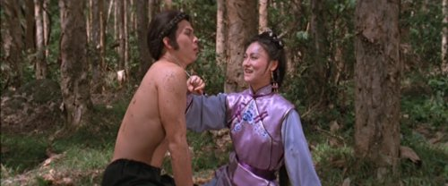 Yuan Ziyi has her knife at Hu Fei&#039;s throat - how romantic.