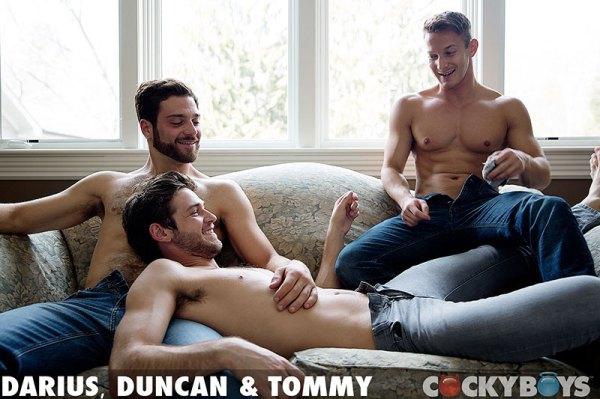 Tommy Defendi fucks Darius Ferdynand and Duncan Black in a threesome for gay porn site Cocky Boys.