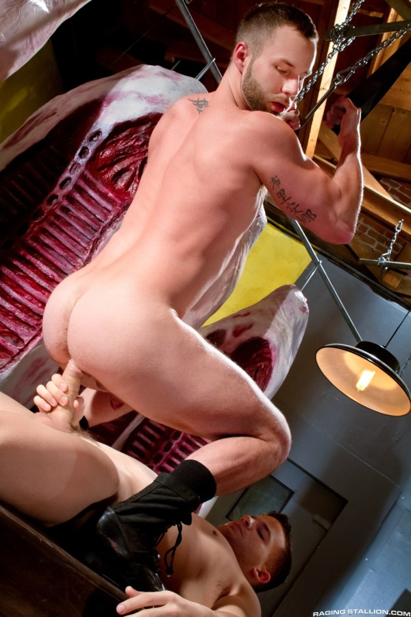 Chris Bines bottoms for Angel Rock in the gay porn film San Francisco Meat Packers by Raging Stallion.