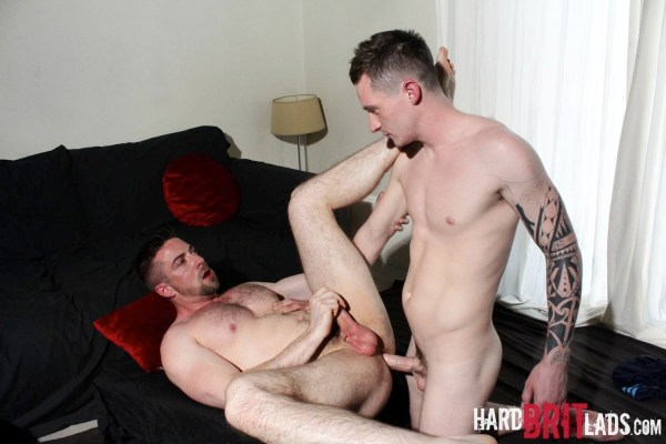 Scott Hunter bottoms for Daniel James in a gay porn scene for Hard Brit Lads.