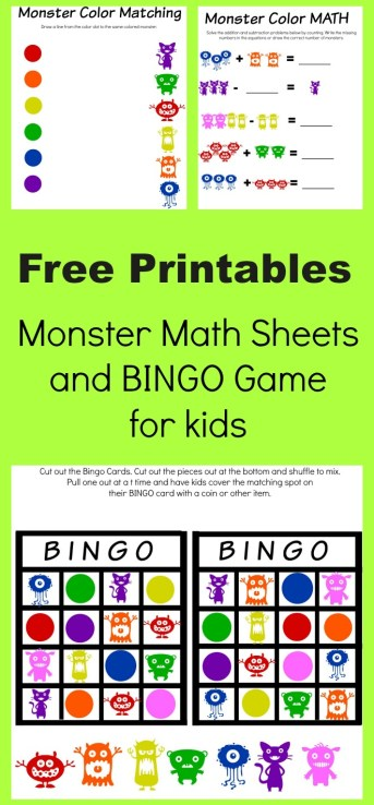 free printable monster math sheets