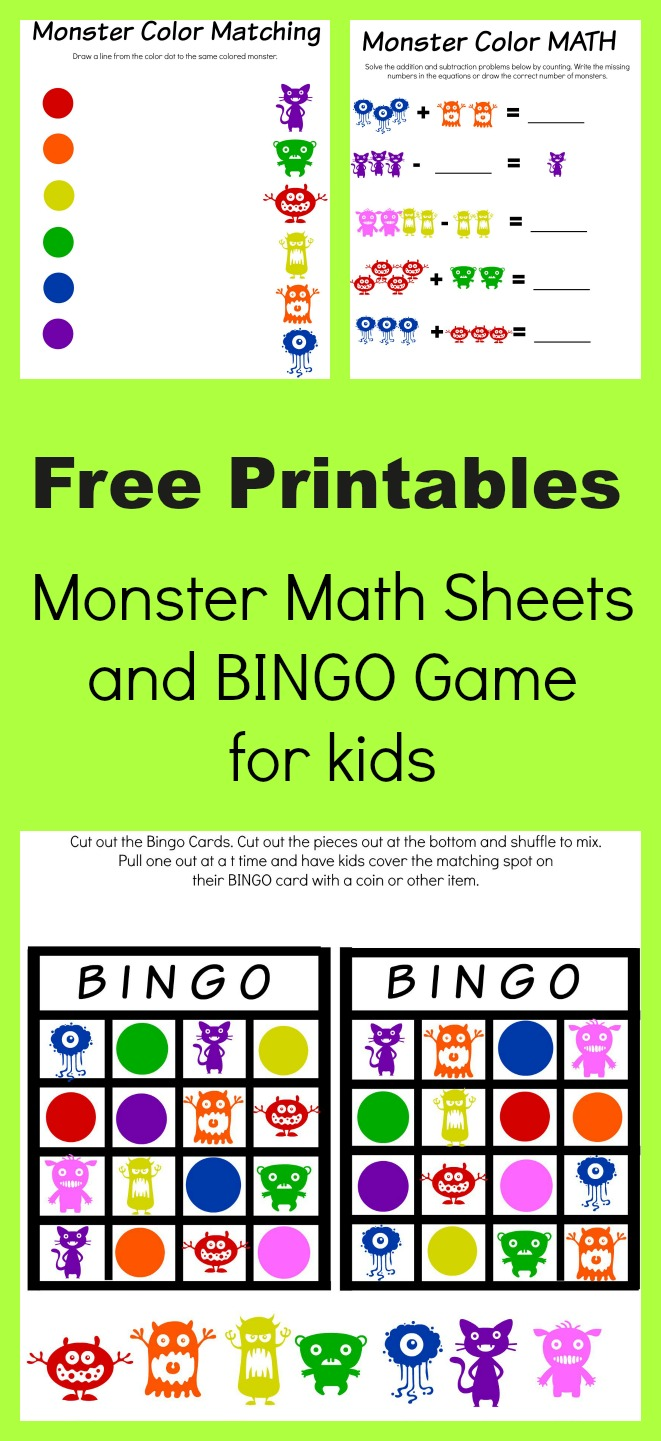Monster Math and Bingo Printables - Manic Mama of 3