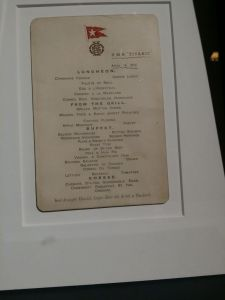 The Titanic lunch menu for 14th April 1912