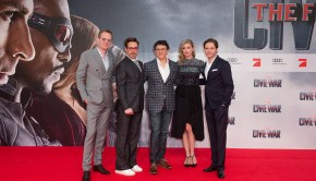 Actors Paul Bettany, Robert Downey Jr., director Anthony Russo, Emily Vancamp and Daniel Bruehl attend the Premiere of the film 'THE FIRST AVENGER: CIVIL WAR' on April 21 2016 in Berlin.  .© Marvel/The Walt Disney Company/Silke Reents