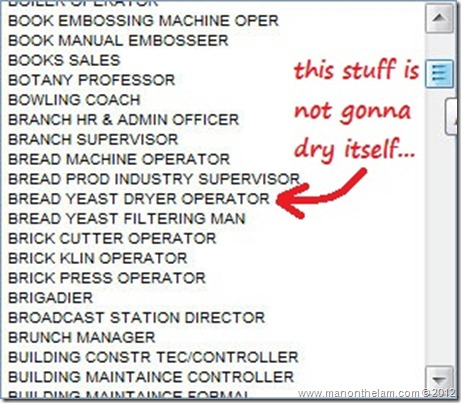 Funny Job Titles -- Bread Yeast Dryer Operator