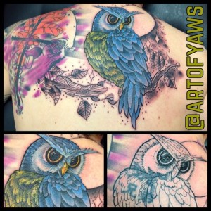 Upper back tattoo by Chris Yaws