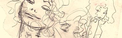 extrait esquisses visages fond jaune