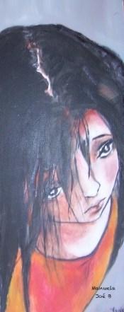 peinture fille cheveux noirs