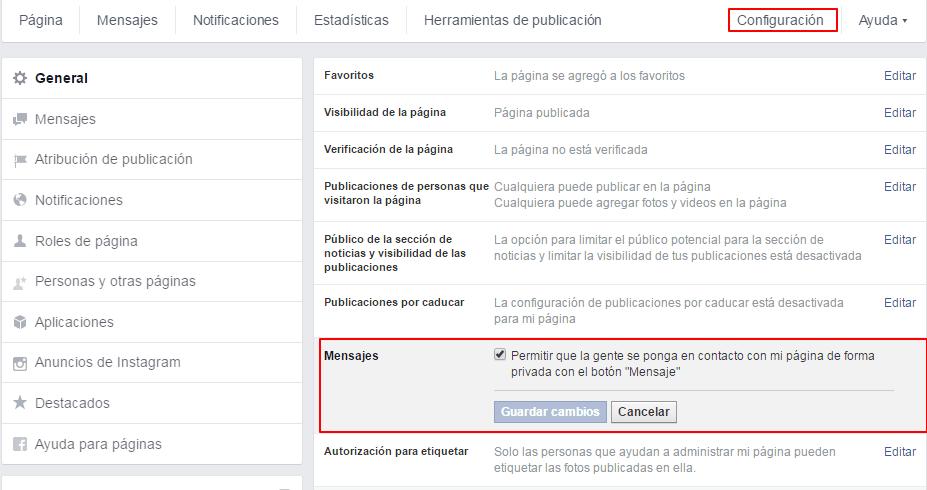 mensajes privados fan page facebook - activar la opción de responder comentarios en páginas de Facebook