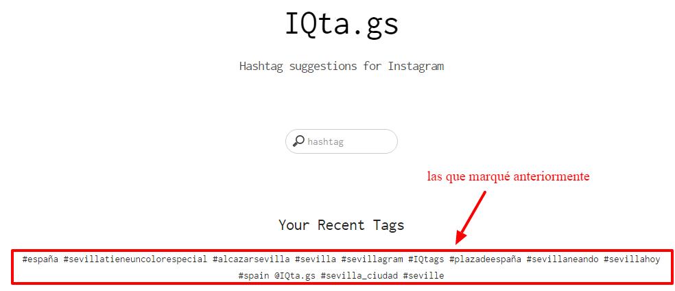 IQta.gs Hashtag sugeridos para Instagram 2