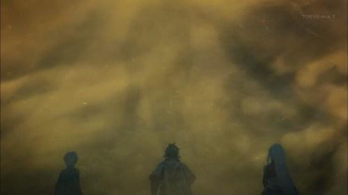 ドラゴンと竜巻を止めたスレイとミクリオとライラ