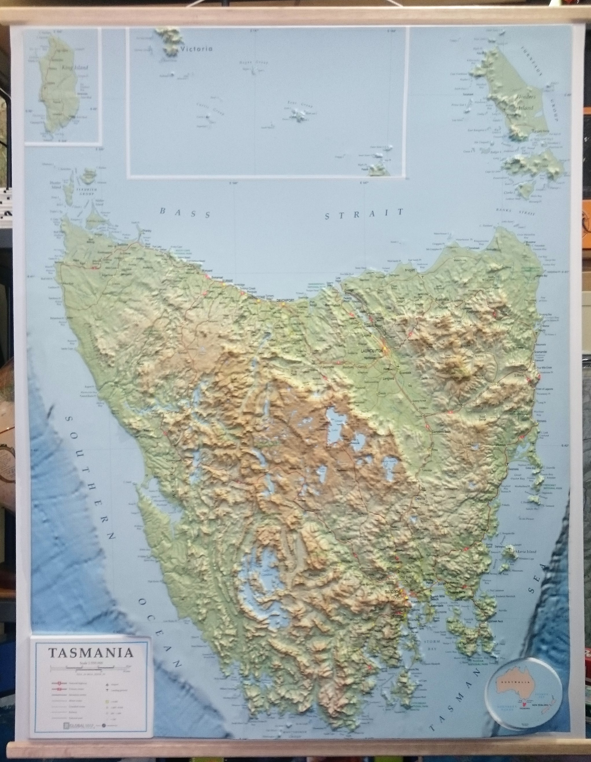 Tasmania 3D Relief Map   The Tasmanian Map Centre Tasmania 3D Relief Map