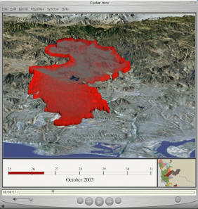 San Diego Wildfire 2003 Web Mapping Services NEW  SDSU Geography Department is collaborating with San Diego Fire  Recovery Network  SDFRN  now to establish a prototype of the GIS data  center for San