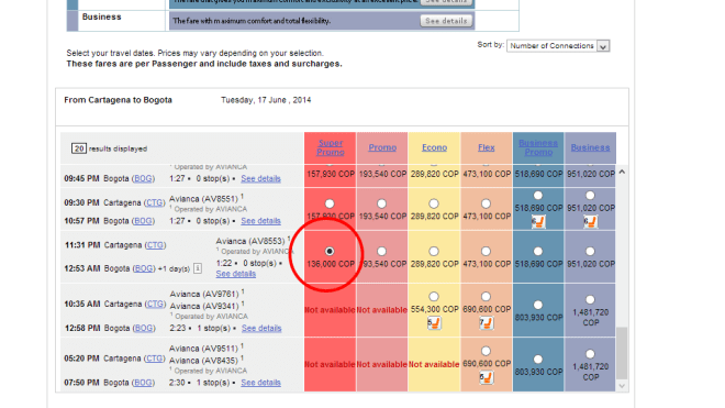 Actual price shown on the Avianca site.