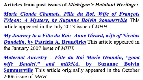 Michigan's Habitant Heritage articles