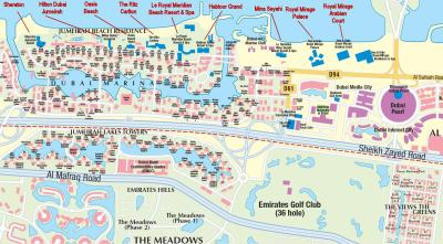 Dubai City Hotels and Attractions map for Travelers Reference | UAE Dubai Metro City Streets ...