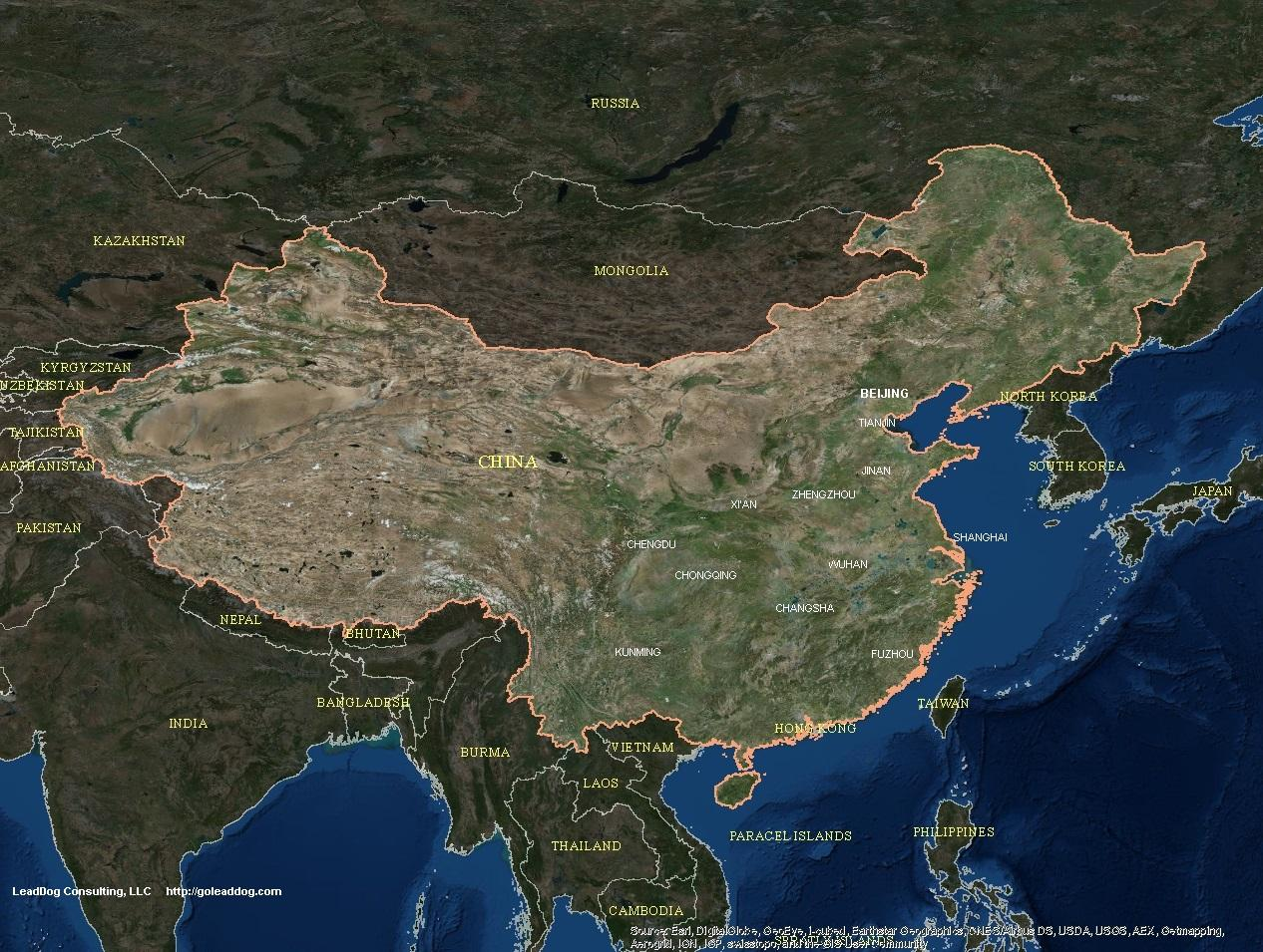 China map satellite   China satellite map  Eastern Asia   Asia  China satellite map
