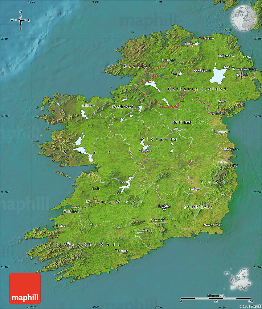 Satellite Map of Ireland