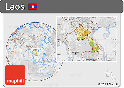 Physical Location Map of Laos, lighten, desaturated