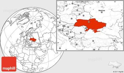 Blank Location Map of Ukraine