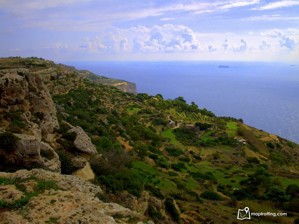 Panoramic views from Dingli Cliffs in Malta