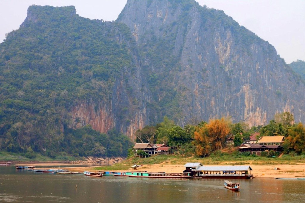 Stunning scenery in Laos by the Mekong River