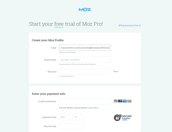 Moz signup page crackit