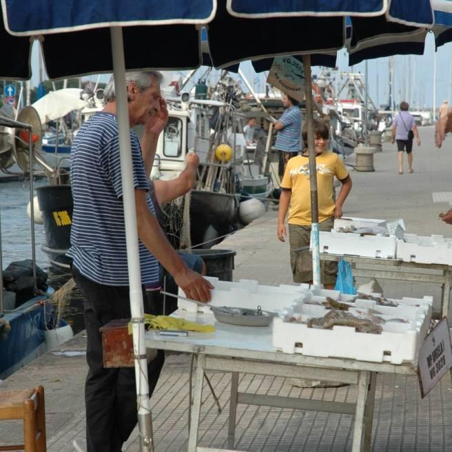 Viareggio: Vendita del pesce direttamente dai pescatori professionisti sul canale Burlamacco