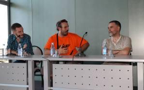 Adrián e Miguelanxo Prado na Hobbycon con Charly