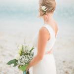 mariage, plage, bouquet, robe,