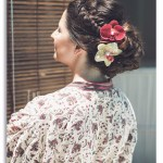 mariage, coiffure, fleurs,