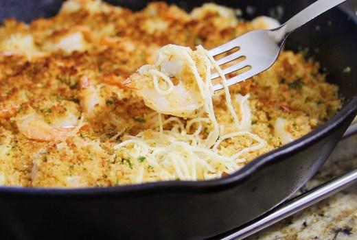 Parmesan Crusted Shrimp Scampi w/ Pasta