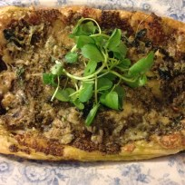 Perl Las tart with watercress and walnut pesto