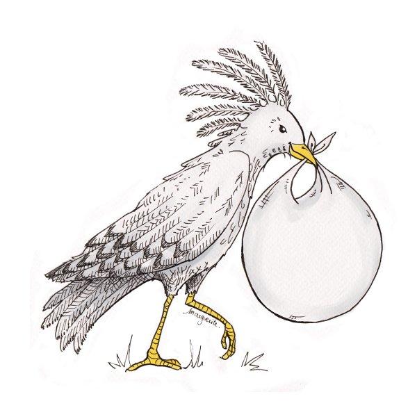 """Illustration """"kagou de Nouvelle Calédonie"""" pour faire-part de naissance - encre de Chine, colorisation numérique (Clip Studio Paint)"""