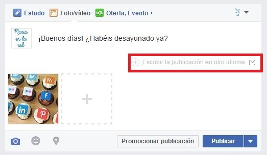 facebook page publicación multiidioma