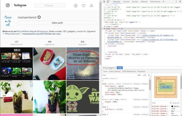 publicar en instagram desde ordenador chrome codigos