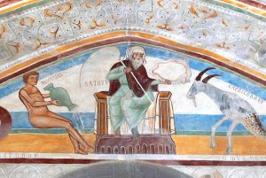 Angera castle ( Varese ). Hall of Justice - Fresco showing Saturn, flanked by Aquarius and Capricorn.