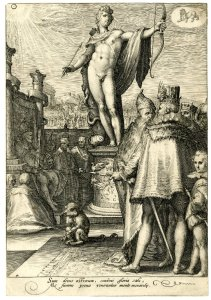 Engraving depicting the Greek god Apollo as personification of good government. In the top right corner the zodiac sign Leo. From the series The seven planets.