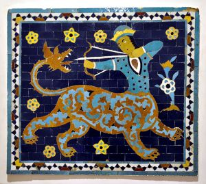Part of a tile wall cover, Sagittarius; Iran, 16th century; tile mosaic from coloured faience; Museum für Angewandte Kunst Frankfurt am Main, Inv. No. 13049