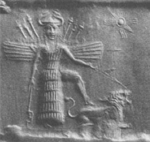 Innana e o leão, um de seus animais-símbolo - Reprodução