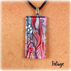 Foliage Watercolor Painting Necklace by Marika Reinke 2017
