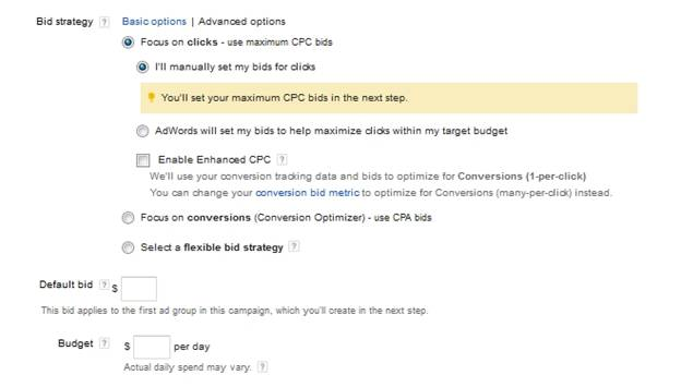 Adwords Advanced Bidding Options