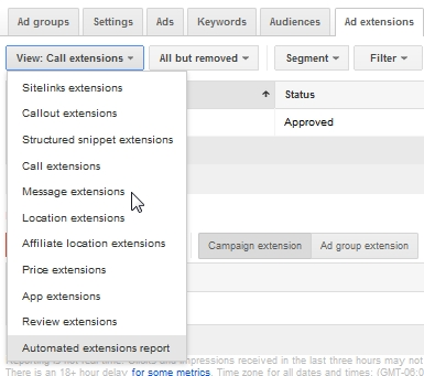 AdWords setup Messaging Exension