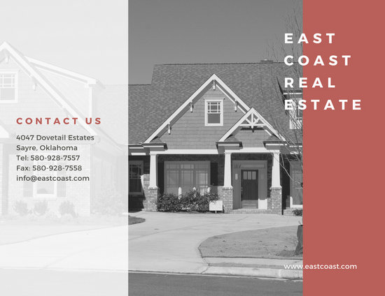 Customize 78  Real Estate Brochure templates online   Canva Red Simple Real Estate Trifold Brochure