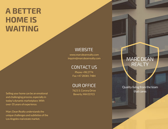 Customize 78  Real Estate Brochure templates online   Canva Brown Yellow Modern Real Estate Trifold Brochure