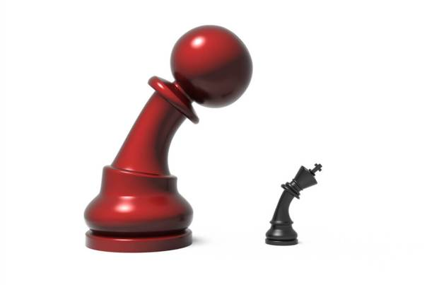 Are you in control of your website? This is visualized by a picture of a pawn from a game of chess towering in size and leaning menacingly over a tiny king piece - Photo by StockMonkeys.com