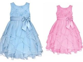 Esquema de modelagem de vestido com babado em cascata para crianças de 2 a 14 anos.