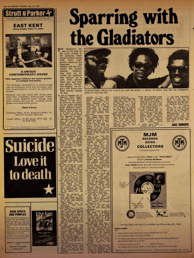 Ramsden, Dave. Melody Maker gladiators(Jun 10, 1978)
